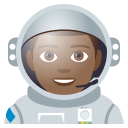 Man Astronaut Emoji with Medium-Dark Skin Tone, Emoji One style