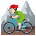 Man Mountain Biking Emoji with Light Skin Tone, Emoji One style