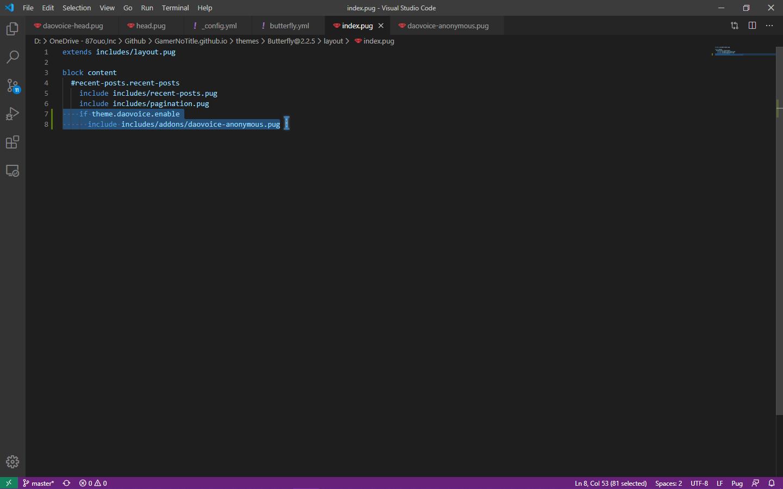 在index.pug中加入代码