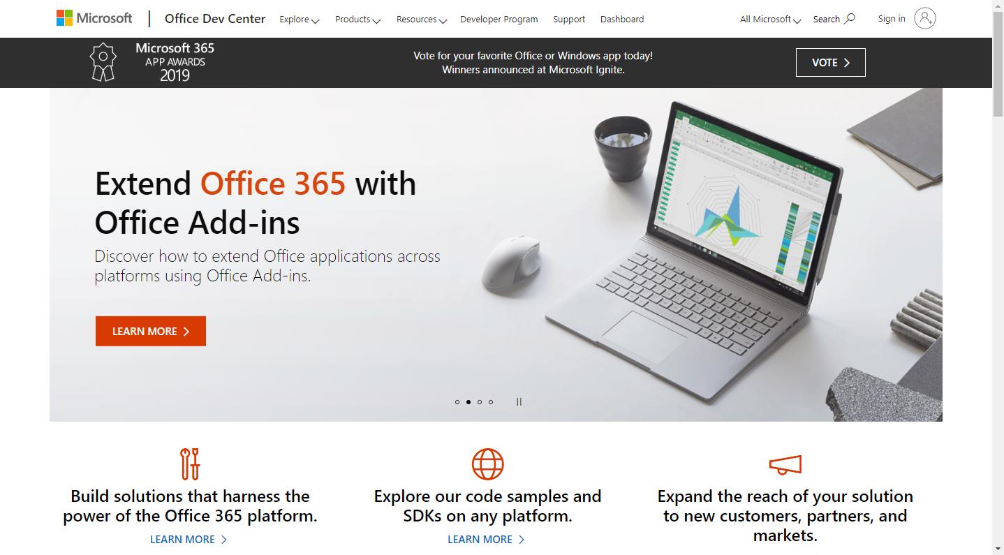 Office开发者页面
