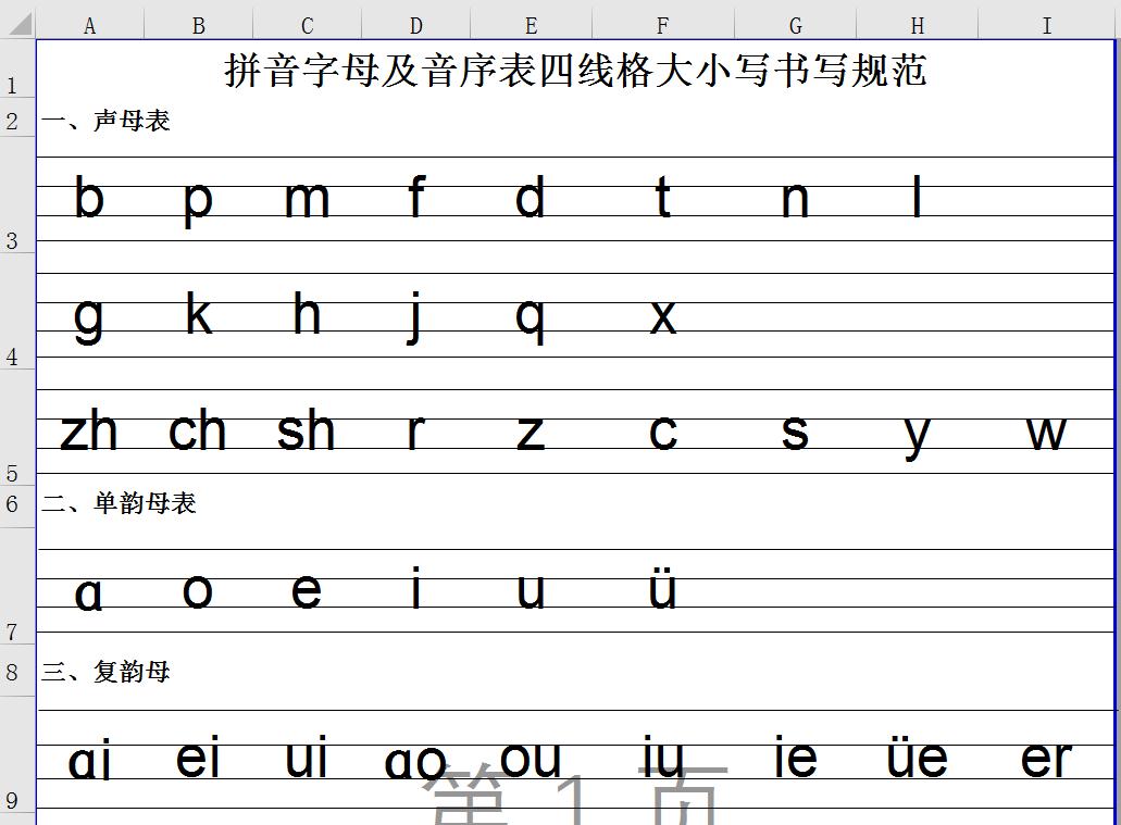 拼音字母及音序表四线格大小写书写规范-excel版.xls