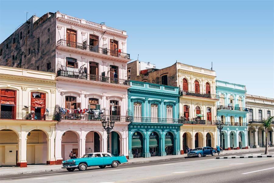 A colorful strip of buildings in Havana