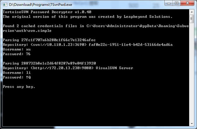 TortoiseSVN Password Decrypter