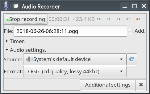Call for Testing: Audio Recorder: A free audio-recorder for