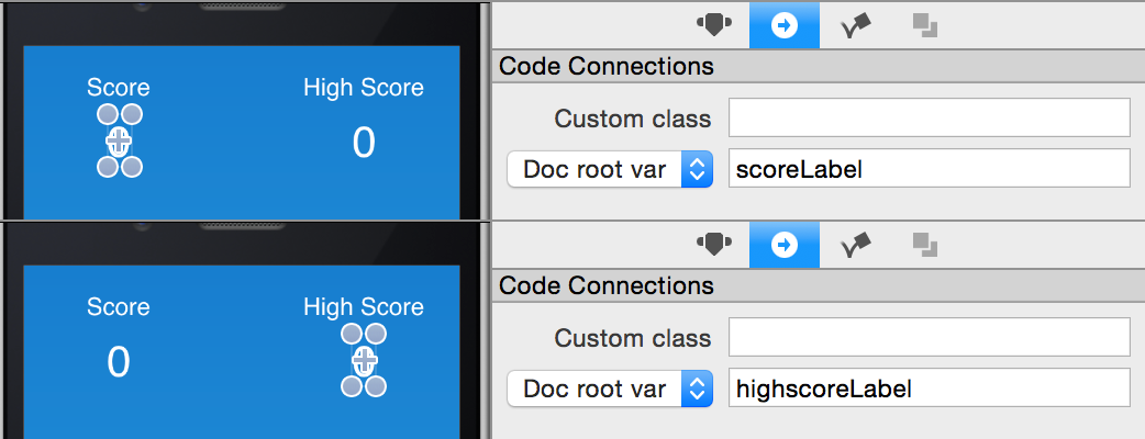 Adding score labels conde connections