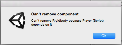 A warning appears when you try to remove a component you can't