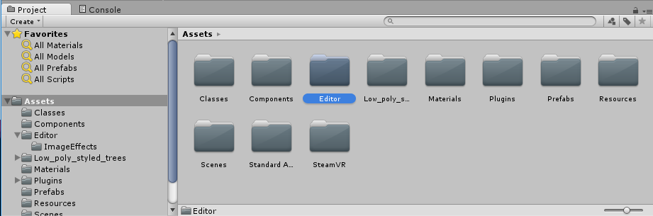 We created an Editor folder