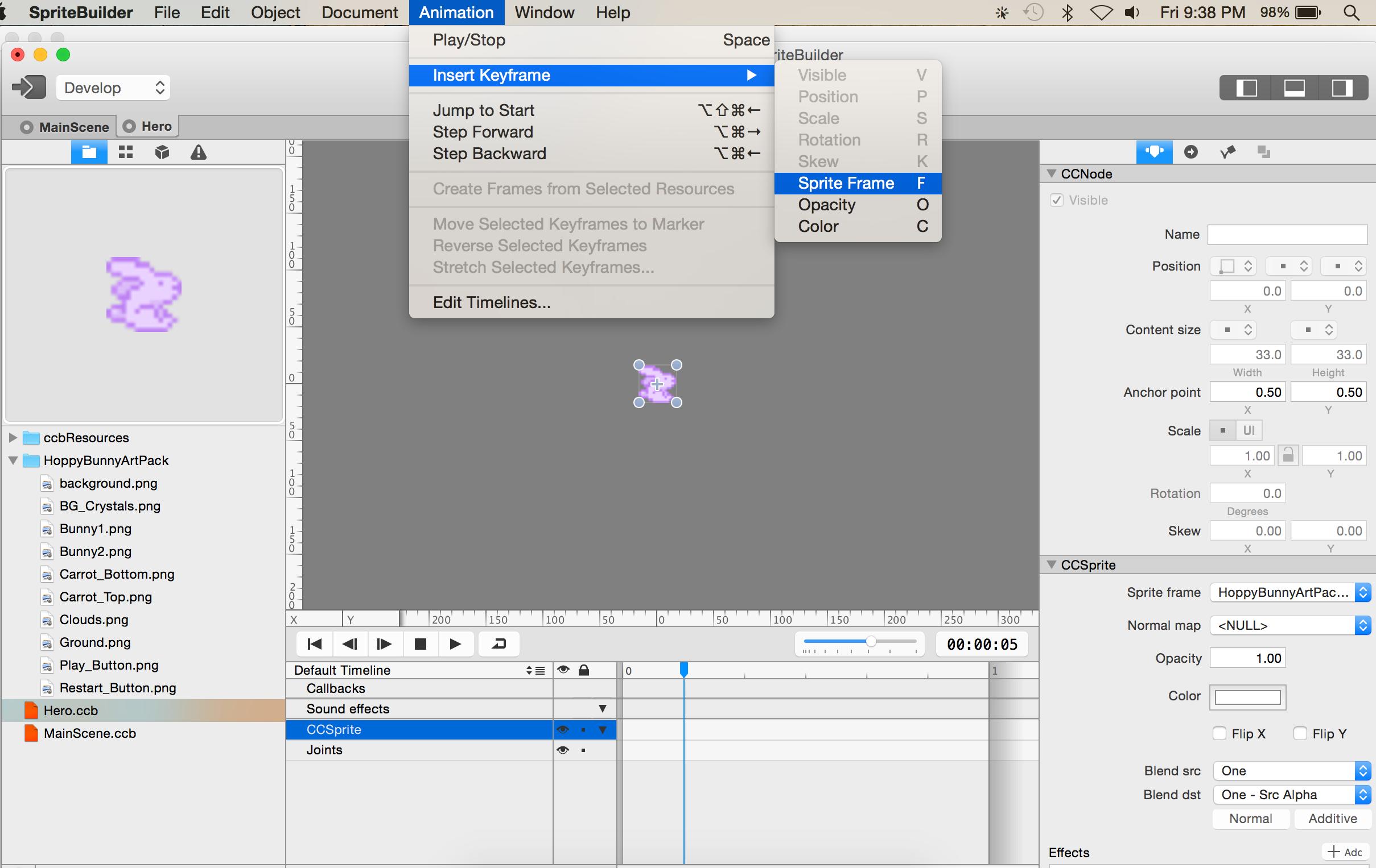 Inserting a sprite frame keyframe