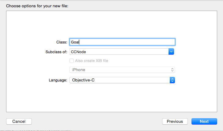 New Goal class in Xcode
