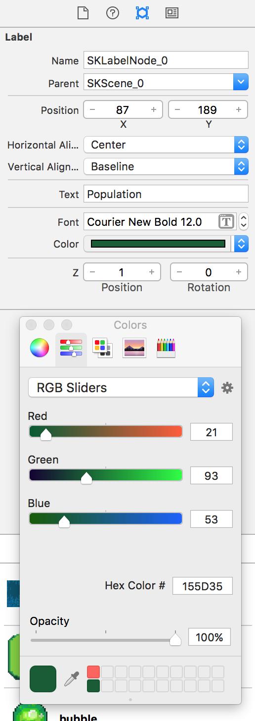 Xcode SpriteKit label setup
