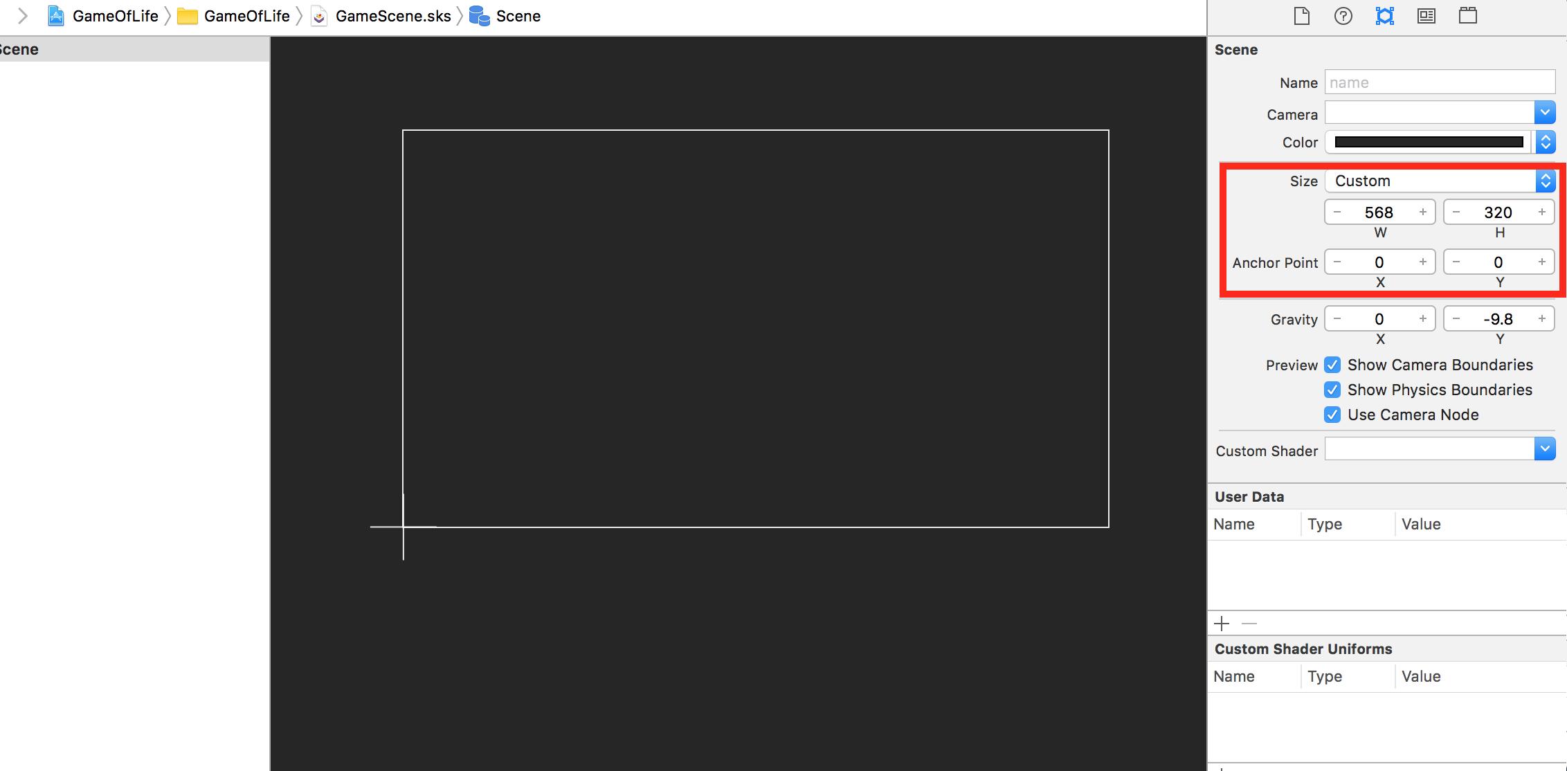 Xcode scene resize