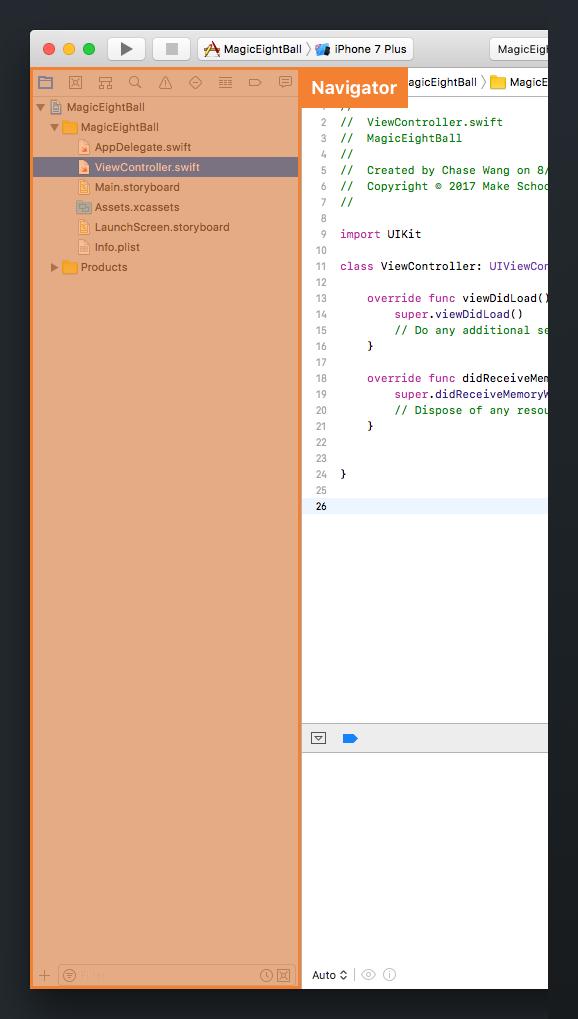 Xcode Navigator