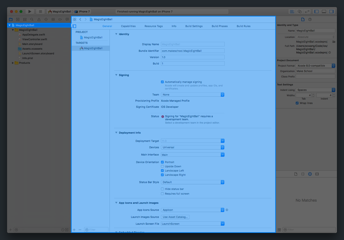 Xcode Project Details