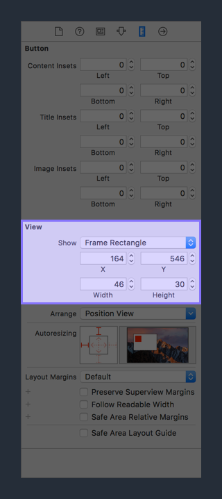 Size Inspector View Section