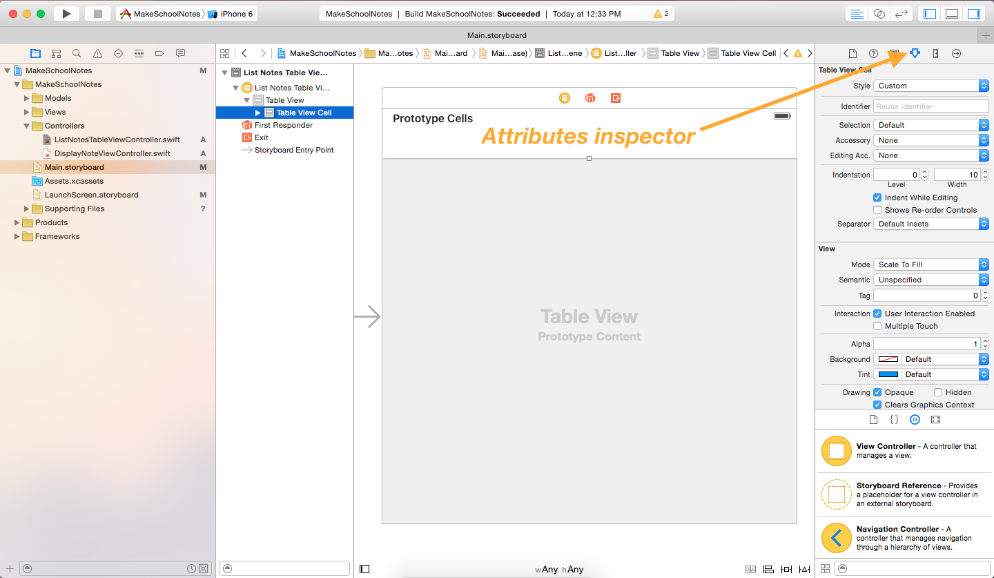 image illustrating location of attributes inspector