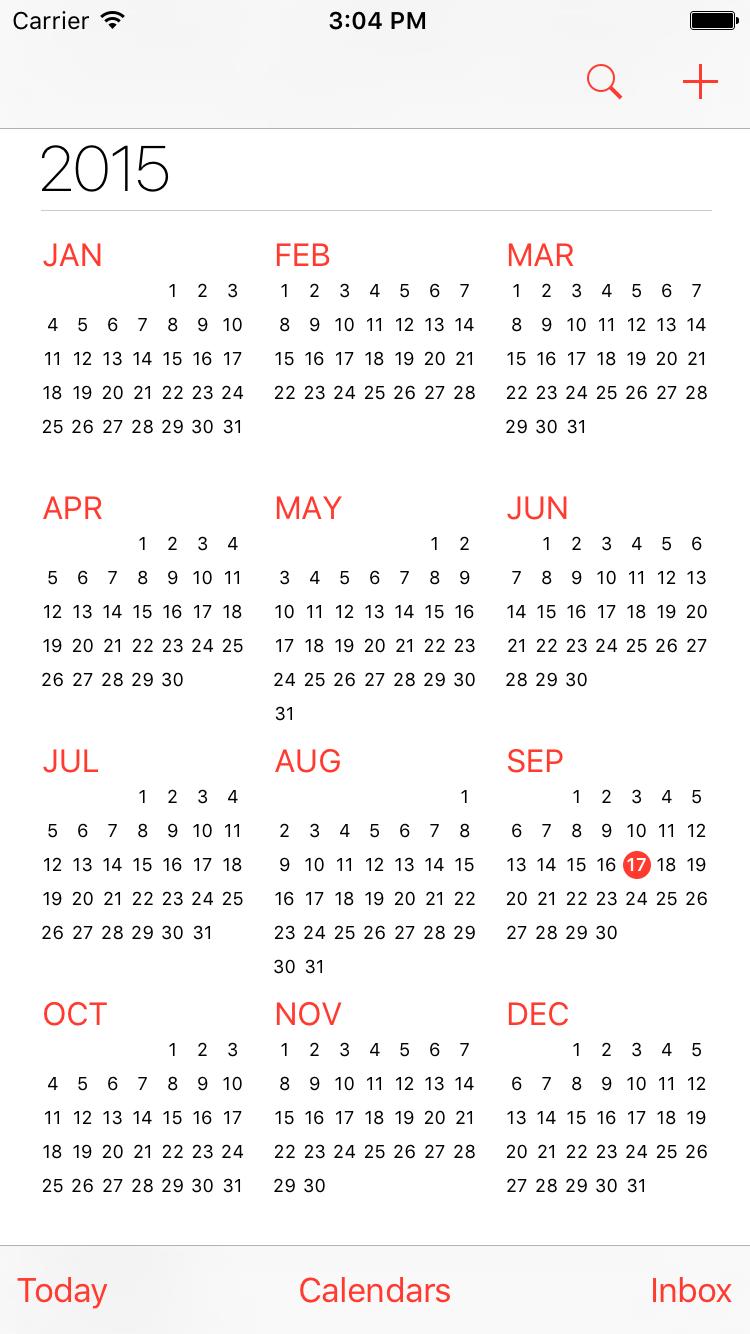 calendar app year view