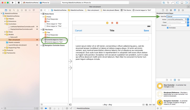 image displaying how to set segue identifier