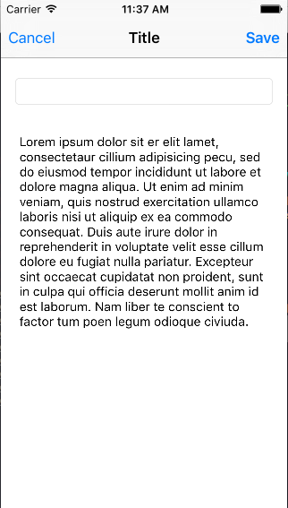 image of Display Note View Controller with lorem ipsum text