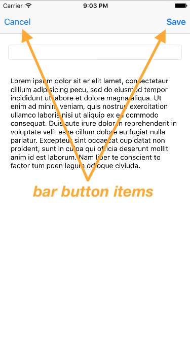 image showing bar button items