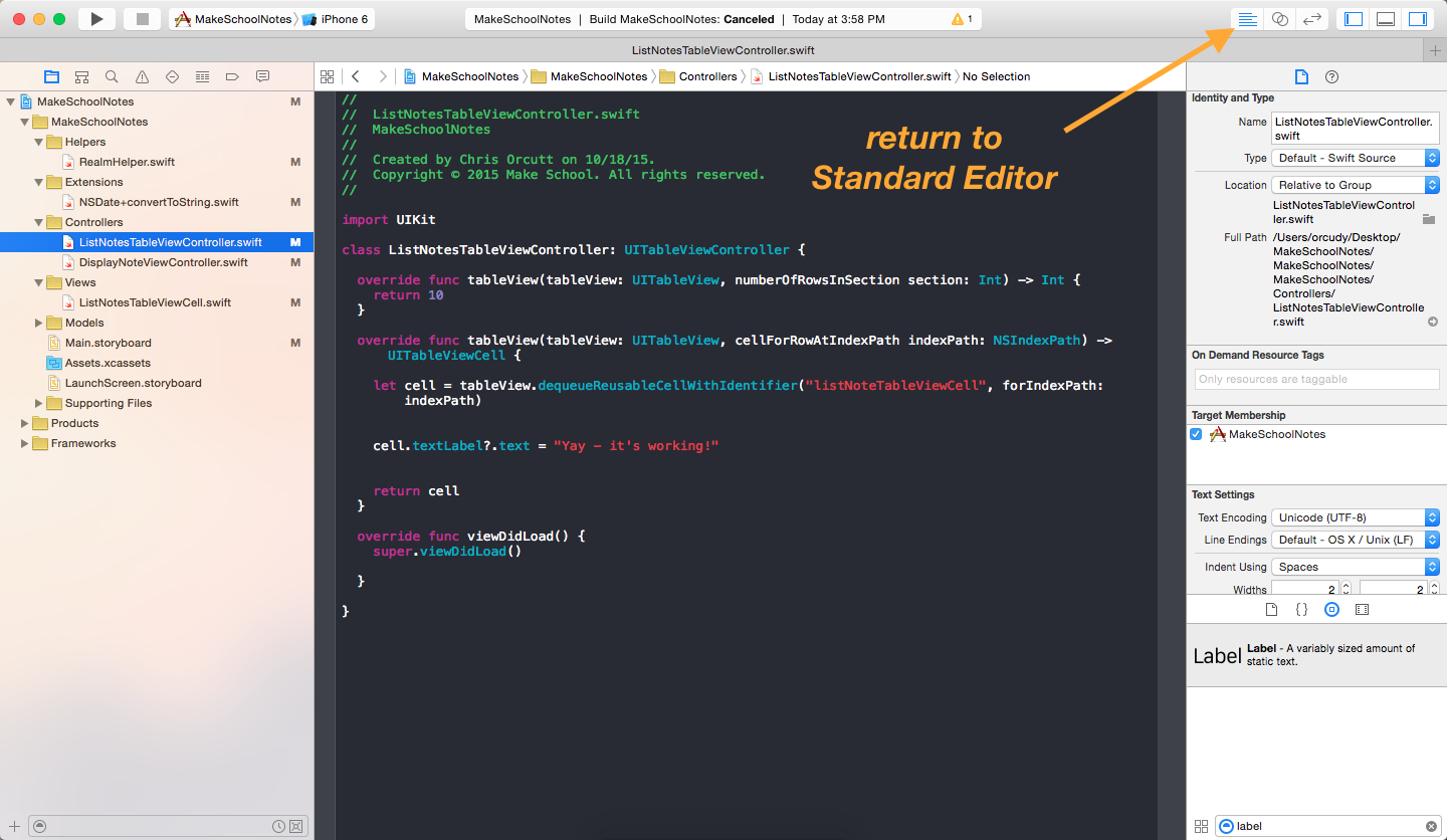 image showing how to switch back to standard editor