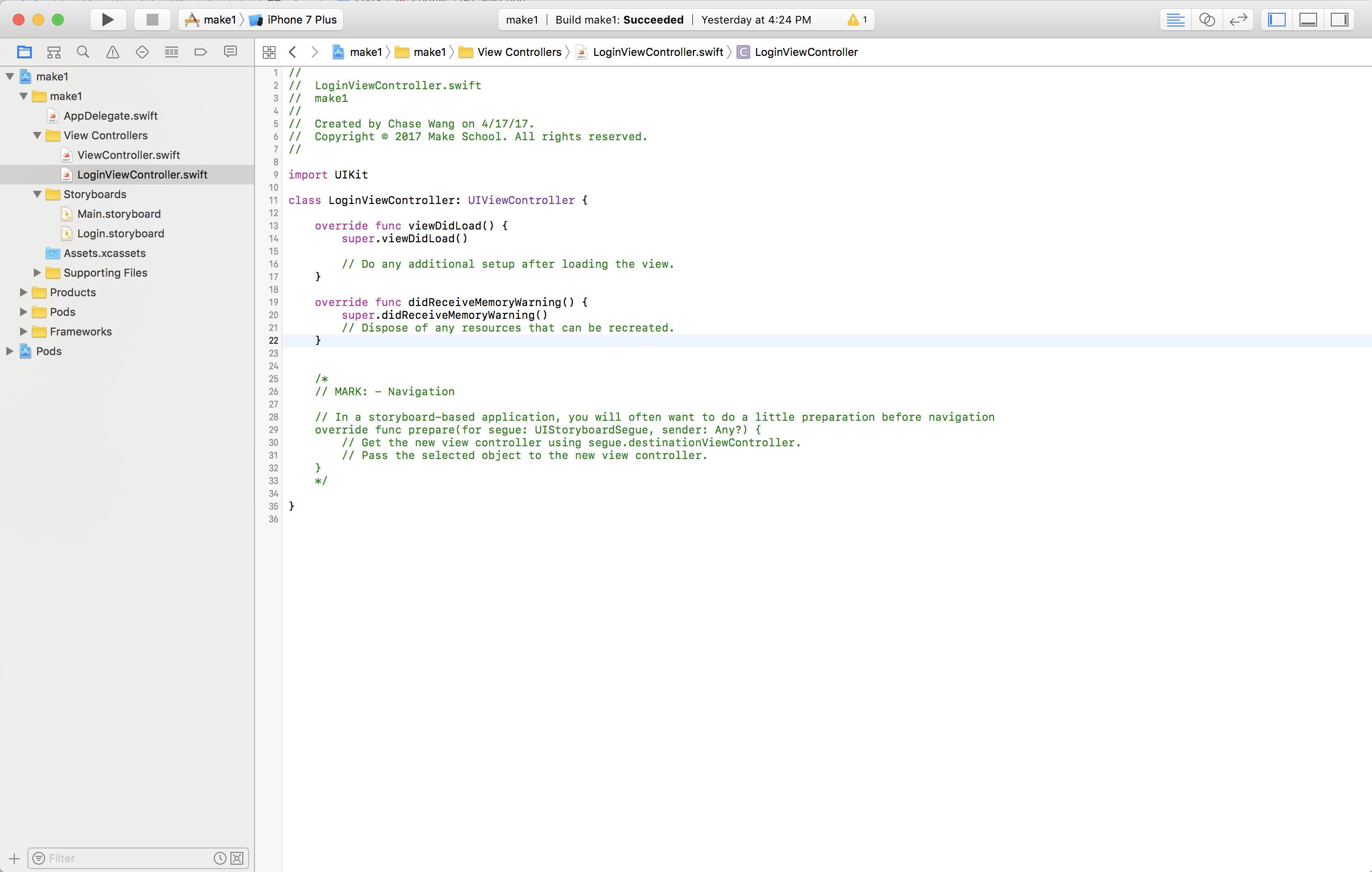 Login Initial Code