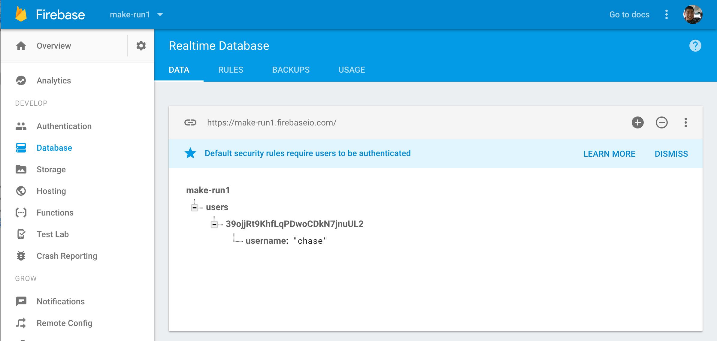 Created Database User