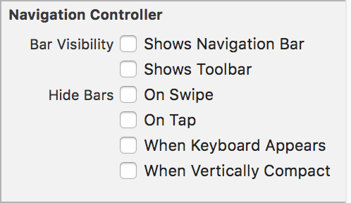 Uncheck Navigation Bar