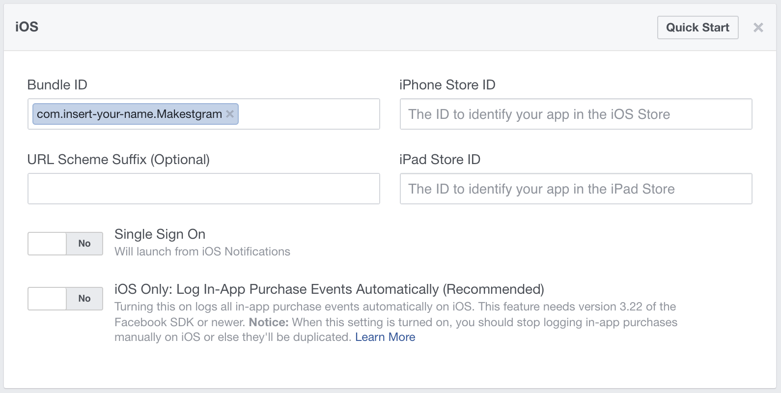iOS Facebook Settings