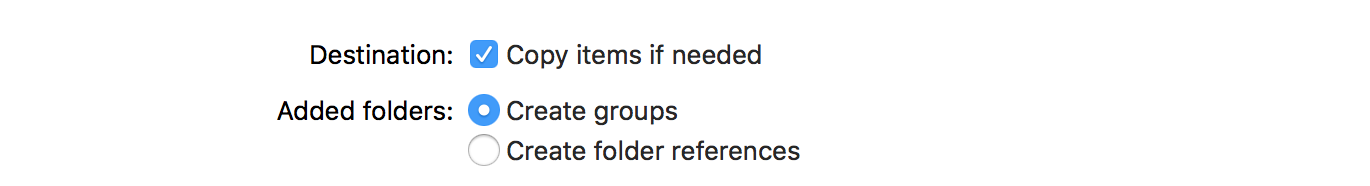 Xcode file import options
