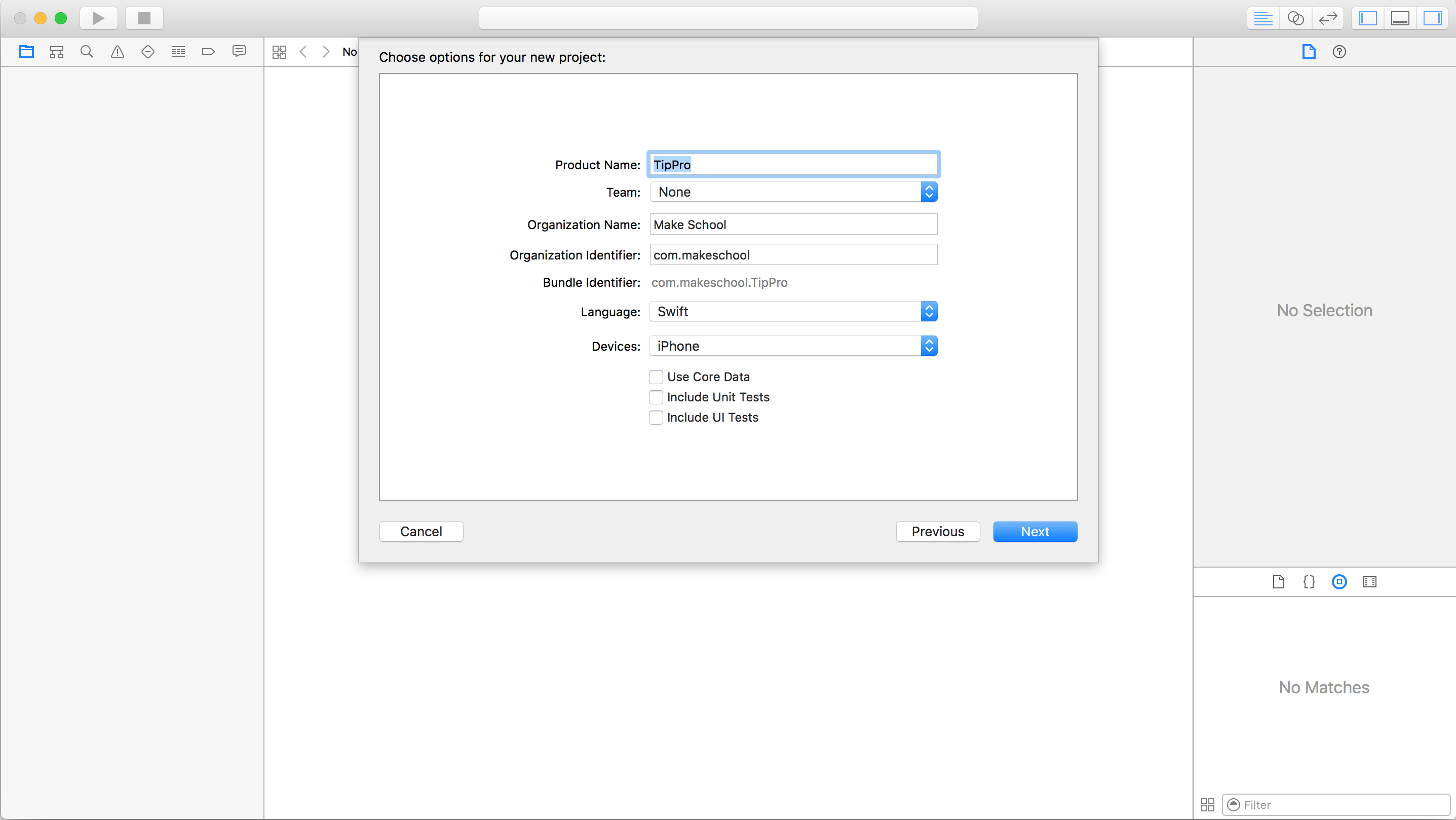 Creating a new project settings