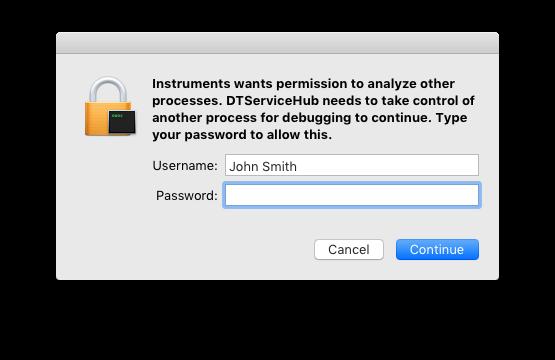 Debugging password request