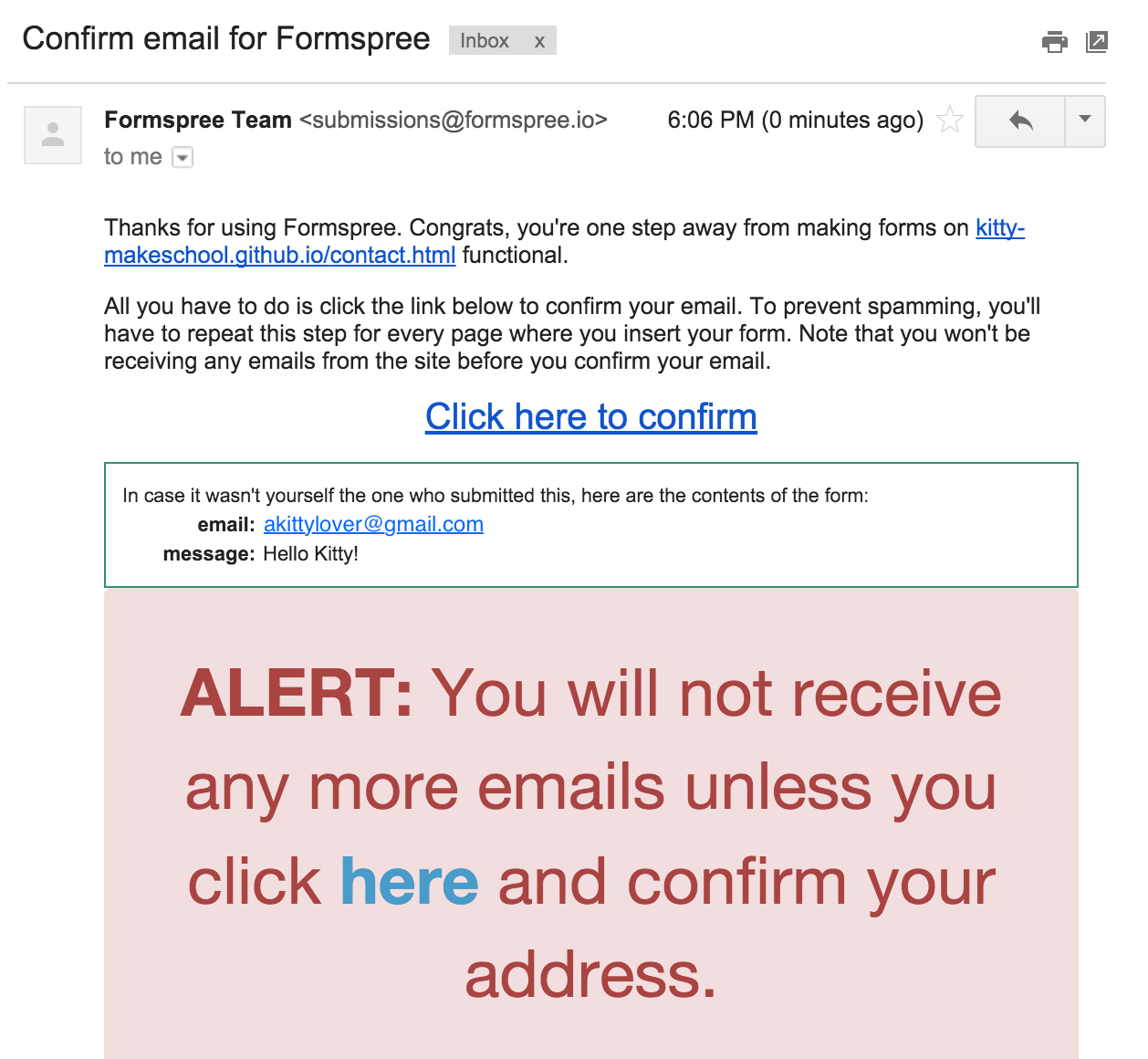 Formspree confirmation email