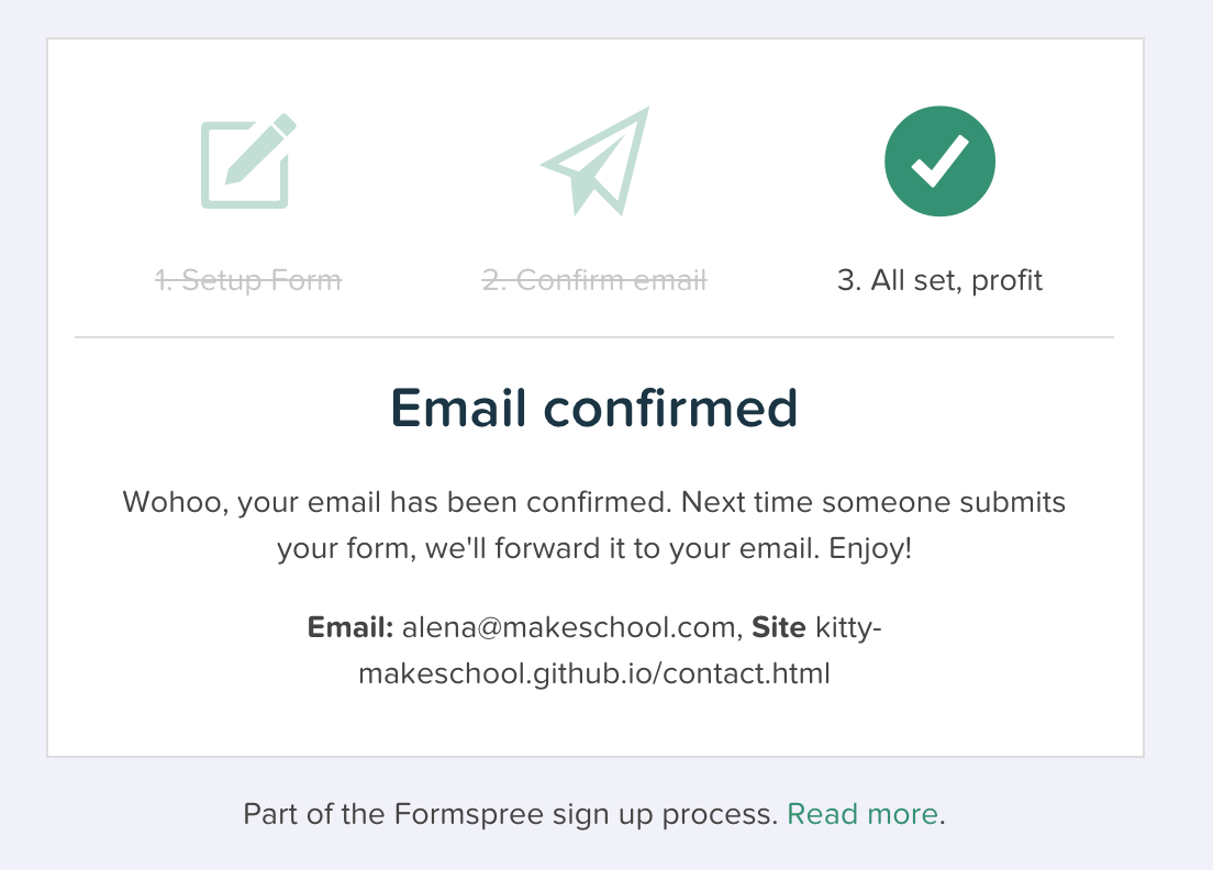 Formspree confirmation in browser