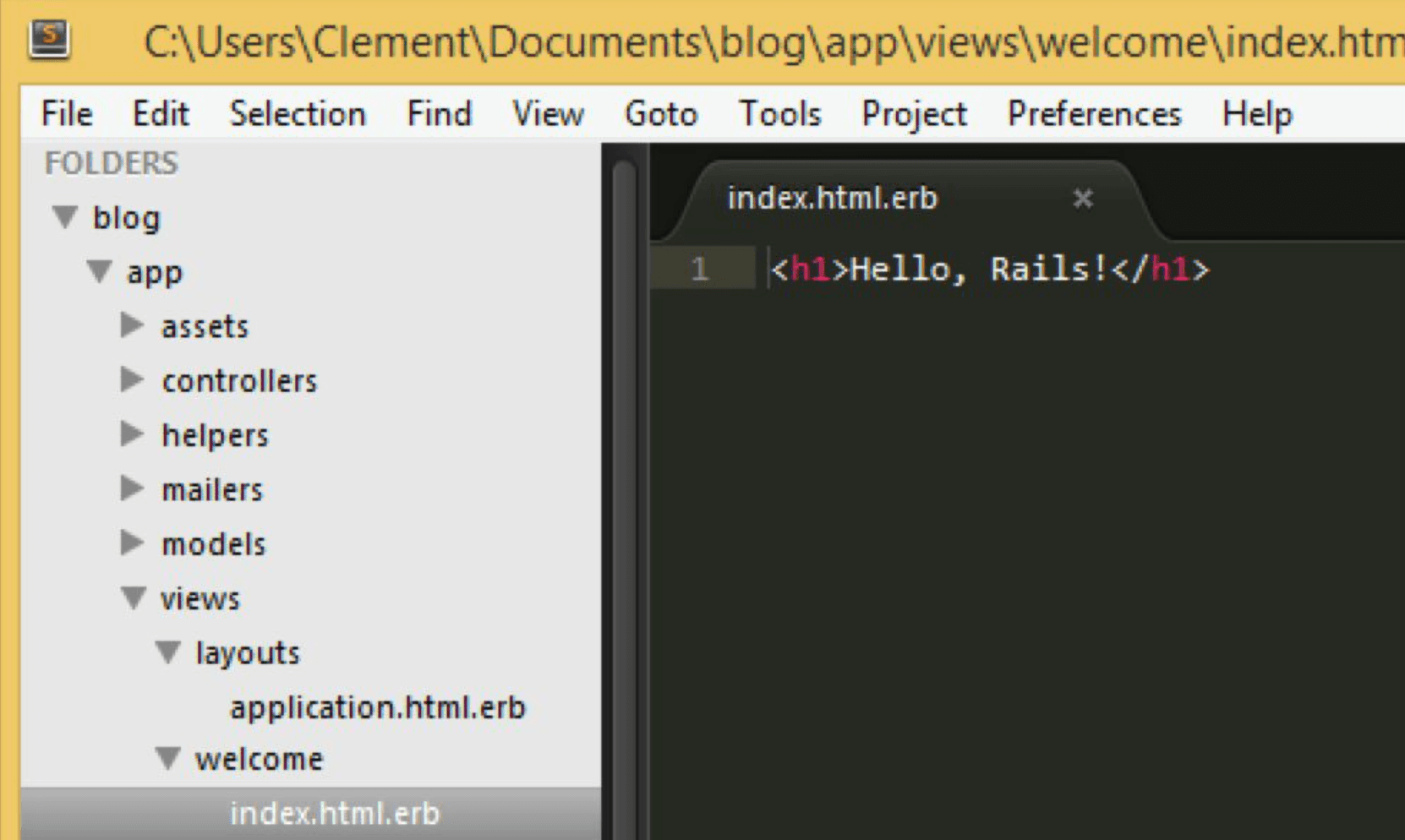 Hello Rails in html file
