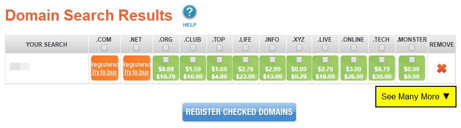 域名搜索结果