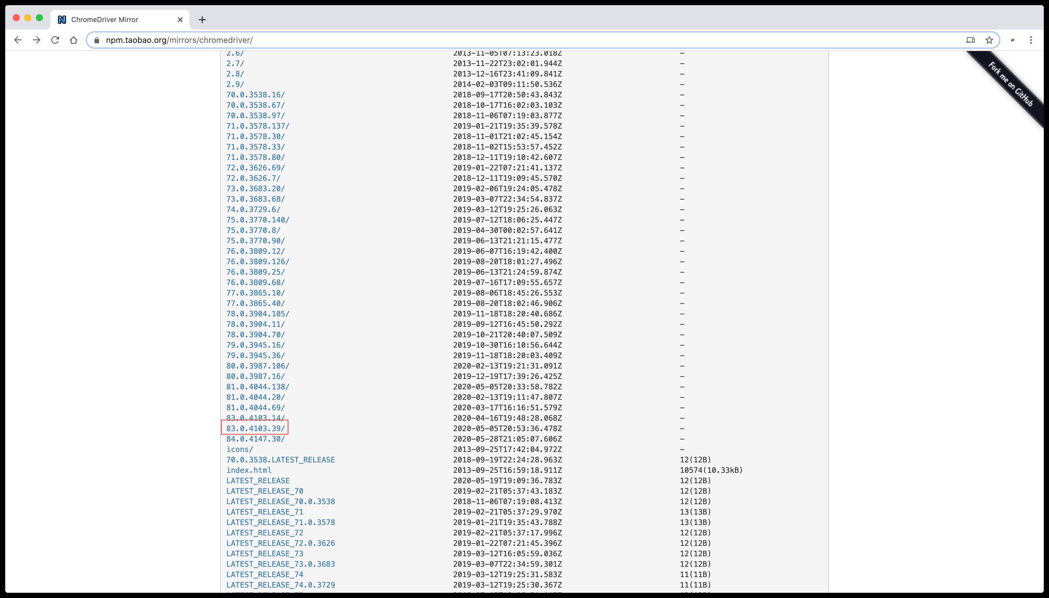 ChromeDriver 版本列表