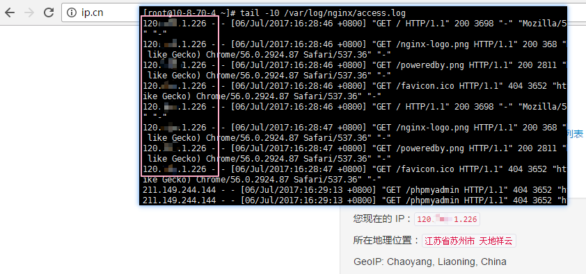 nginx 日志中查看真实访问者地址