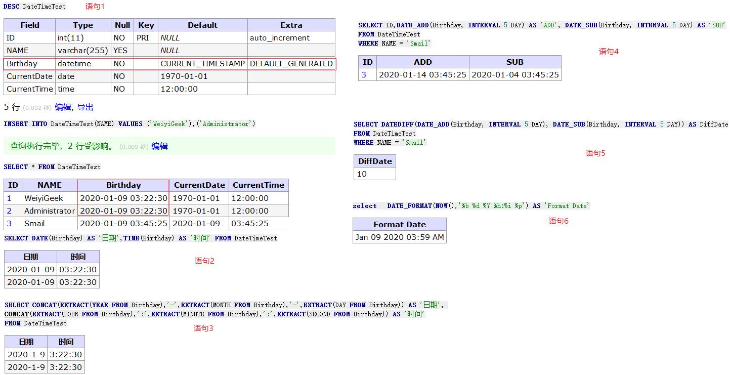 WeiyiGeek.MySQL时间处理函数