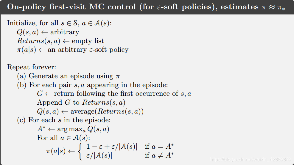 pseudocode of monte carlo learning