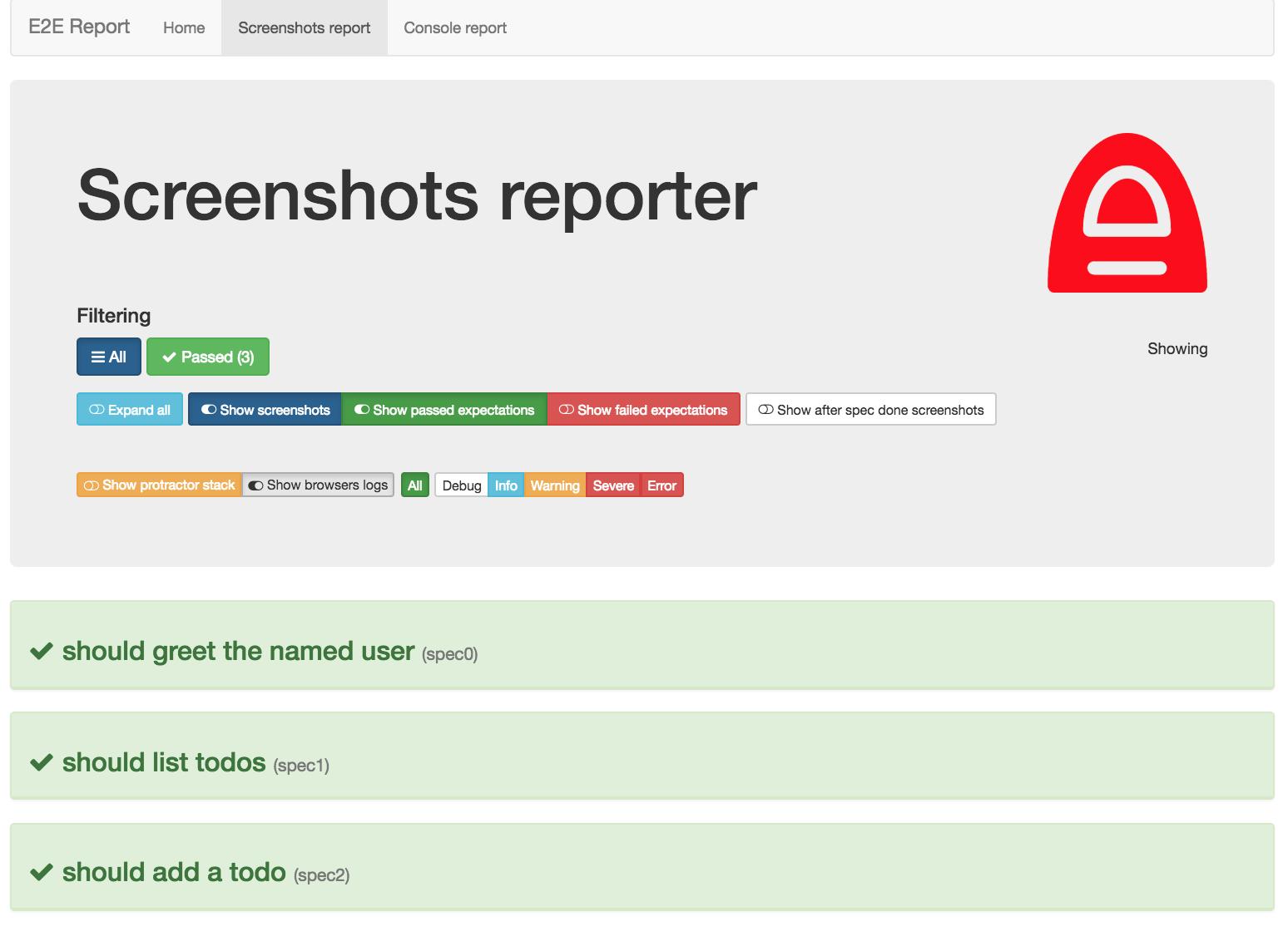 Screenshoter reporter controlls