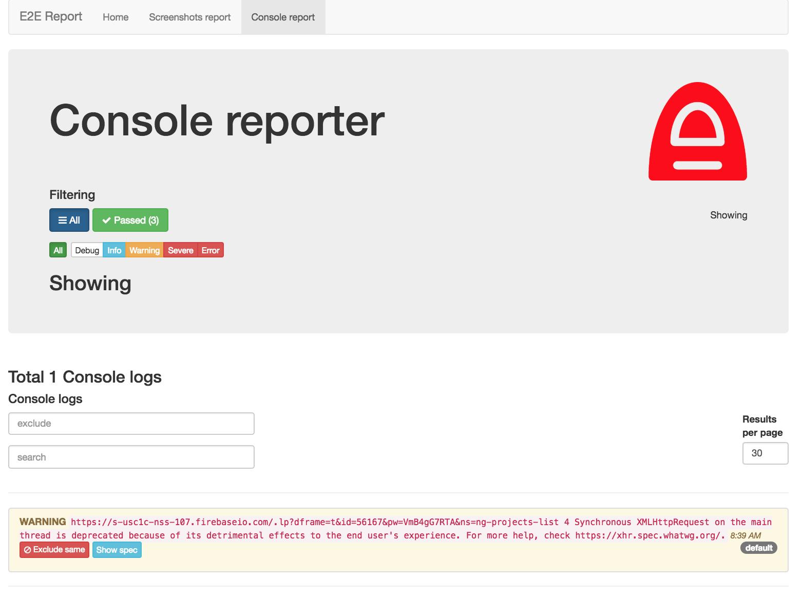 Screenshoter reporter console