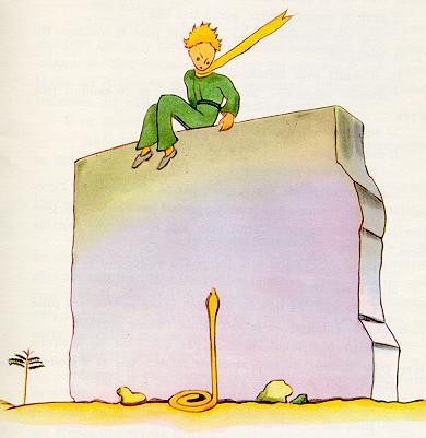 小王子-耷拉着双腿坐在墙上