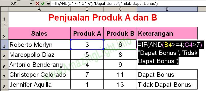 Contoh #2 Fungsi AND pada Microsoft Excel