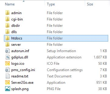 susunan folder hasil ekstrak server2go