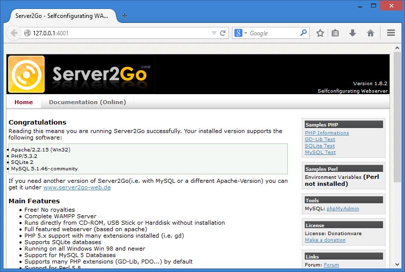Tampilan default dari Server2Go setelah dijalankan