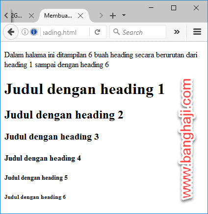 Format Heading pada HTML