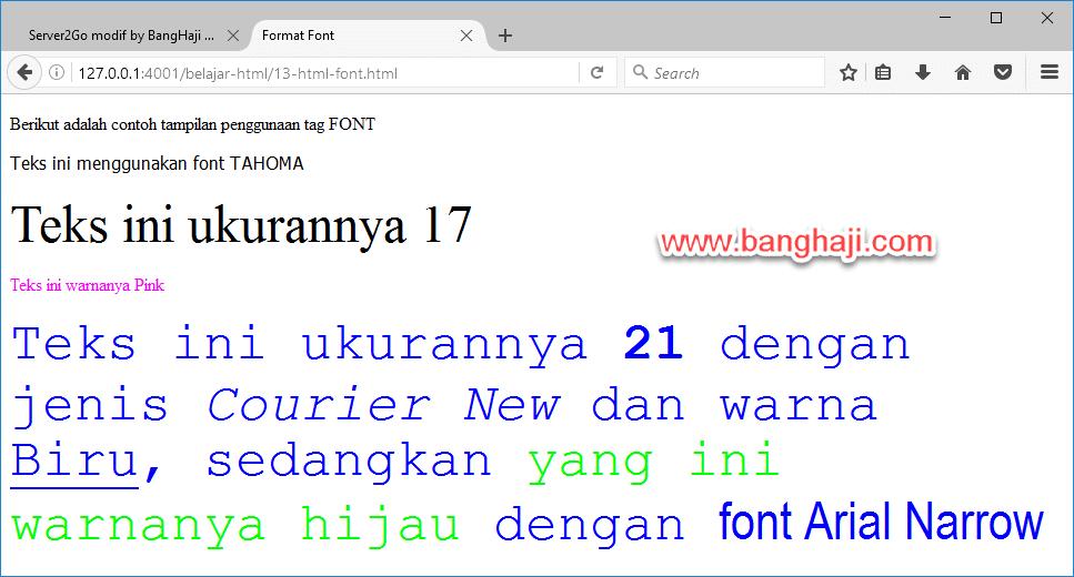 Tampilan Format Font