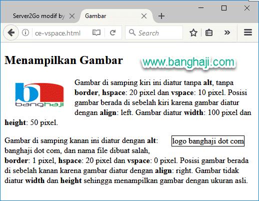 HTML Gambar Border Align Hspace Vspace