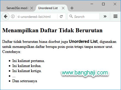 HTML Unordered List