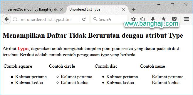 HTML Unordered List Type